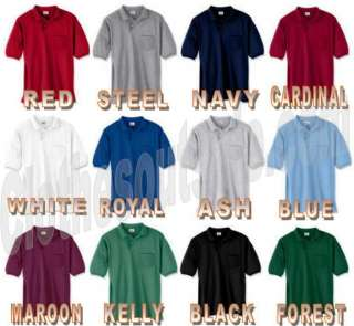 Hanes Mens Golf Polo Shirt With Pocket 12 COLORS