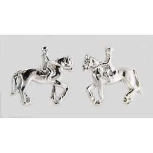 3d Dressage Horse & Rider Post Earrings Silver Finish