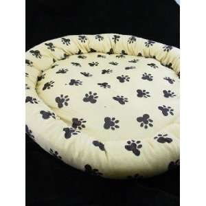 NEW PET BED  TAN w. BLACK PAW PRINTS 29 DOG PILLOW