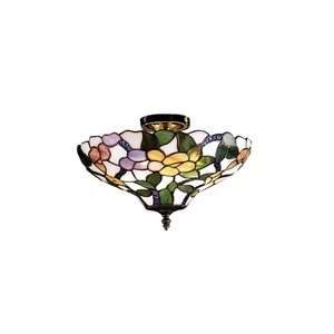 Dale Tiffany 7966/3LTF Peony Semi Flush Mount Light, Antique Brass and