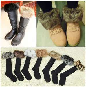 Socks with Faux Fur Cover Fit Boot Stockings Hose 7Color pick