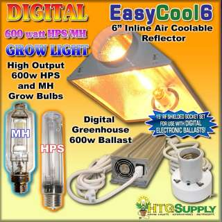 Digital 600 watt HPS MH GROW LIGHT AIR COOLED REFLECTOR