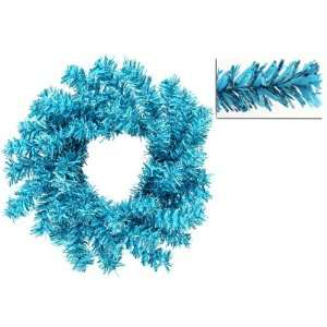Club Pack of 24 Sparkling Sky Blue Tinsel Artificial Christmas Wreaths
