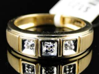 NEW MENS YELLOW GOLD 3 STONE ROUND CUT DIAMOND WEDDING BAND FASHION