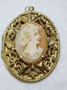 Tone Carved Shell Figural Cameo Locket Pendant 1 3/4 x 1.5