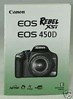 Canon EOS Rebel XSi 450D Owners manual book Instruction