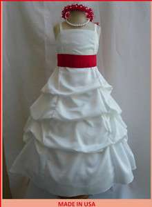 NEW IVORY APPLE RED JUNIOR BRIDESMAID FLOWER GIRL DRESS