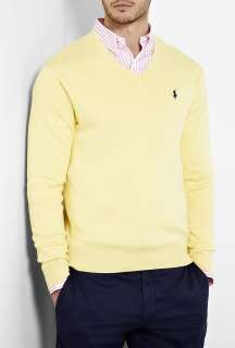 Polo Ralph Lauren  Yellow Pima Cotton V Knit by Polo Ralph Lauren