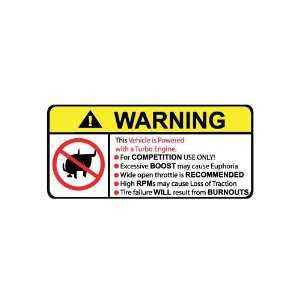Vehicle Turbo Engine No Bull, Warning decal, sticker