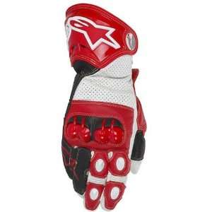 Leather Sports Bike Racing Motorcycle Gloves   Red / Large Automotive