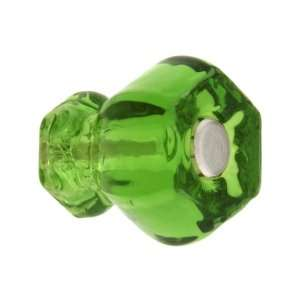 Small Hexagonal Forest Green Glass Cabinet Knob With