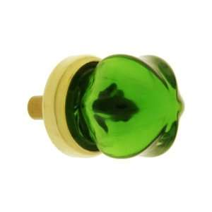 Depression Green Glass Cabinet Knob With Brass Base.