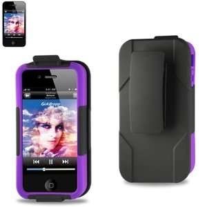 Full Protection Case Purple on Black for Apple Iphone 4 4g 4th Gen
