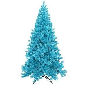 96 Artificial Christmas Tree with Teal Lights in Sky Blue