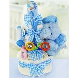 Gingham & Giggles Three Tier Diaper Cake Boy Baby
