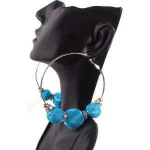 Baby Blue Basketball Wives Poparazzi Earrings with 3 Mesh Disco Balls