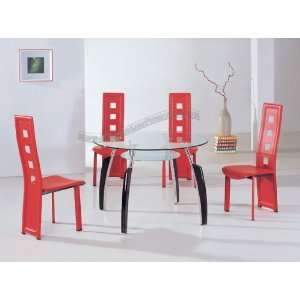 Modern Furniture Contemporary Round Tempered Glass Dining