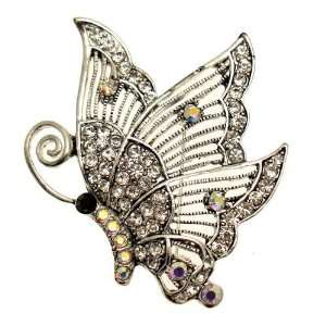 Rainbow AB Crystal   Antique Silver Colored Butterfly Brooch Jewelry