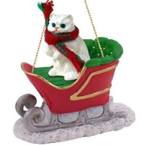 White Persian Cat Sleigh Ride Christmas Ornament