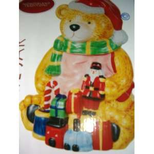 New, Hand Crafted Christmas Teddy Bear Cookie Jar