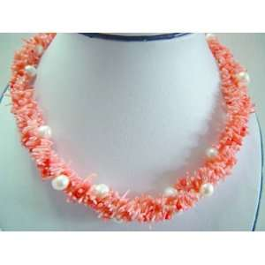 Pink Coral Branch with White Pearl Beads Necklace