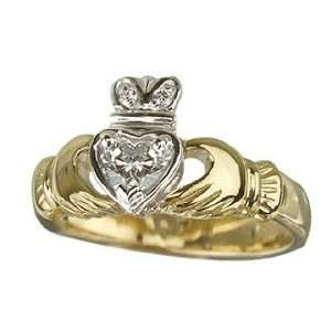 18k Yellow Gold Diamond Heart Claddagh Ring   Size 7   Made in Ireland
