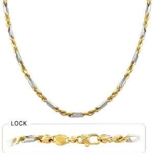 20.60gm 14k Two Tone Gold Rope Chain Necklace 18 3.40mm