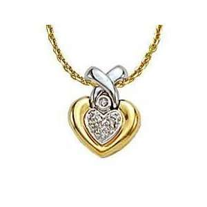 14k Two Tone Diamond Pendant With 16 inch Chain