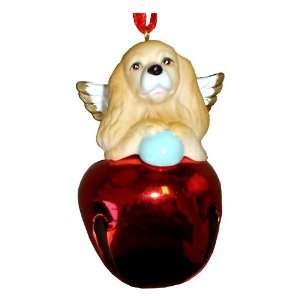 Holiday Cocker Spaniel Dog Gold Ornament Bell Figurine