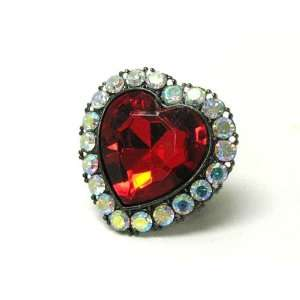 Faceted Red Crystal Heart Stretch Fashion Ring Jewelry