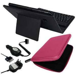 Premium Black Leather Case With Bluetooth Keyboard + Pink