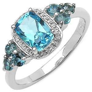 ct. t.w. Swiss Blue Topaz & London Blue Topaz Ring in Sterling Silver