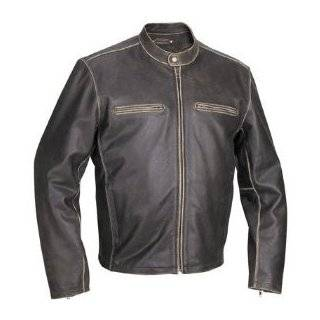 TANDEM BLACK/SILVER PREMIUM LEATHER MENS MOTORCYCLE JACKET Clothing