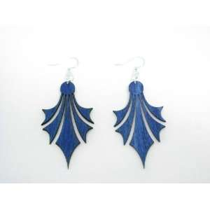 Aqua Marine Dropped Points Wooden Earrings GTJ Jewelry
