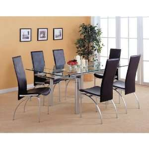 Pearl Silver Metal Dining Table & Black Chairs Set Furniture & Decor