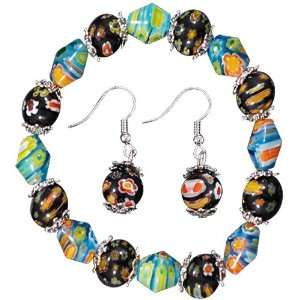 Black Aqua Earrings Bracelets Murano Glass Jewelry Set
