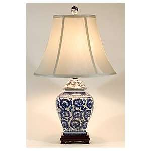 Traditional Blue & White Square Porcelain Table Lamp