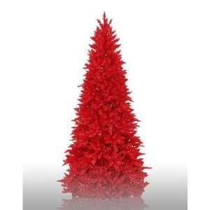 7.5 Prelit Slim Red Ashley Artificial Christmas Tree with