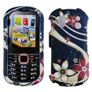 Blue with Brown Red Galaxy Flower Design Rubberized Snap on Hard Skin