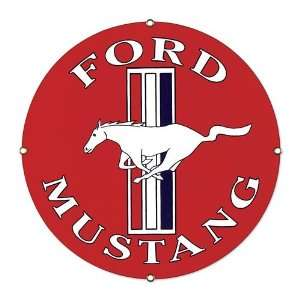 Ford Mustang Car Round Embossed Tin Sign