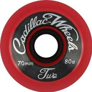 Cadillac Classic Two 70mm Red Skateboard Wheels (Set Of 4)