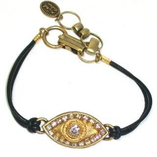 Bracelet with Clear Swarovski Crystals on Black Leather Cord Jewelry