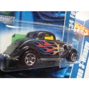 Hot Wheels 34 Ford 3 Window #190 06 Black 5 Spoke With Flames 1/64