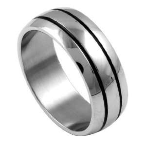 316L Stainless Steel High Polish Stripe Laser Cut Ring