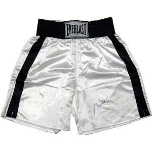 Autographed/Hand Signed White Everlast Boxing Trunks