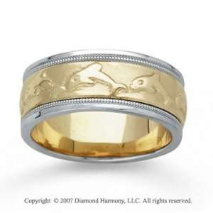 14k Two Tone Gold Dolphin Hand Carved Wedding Band Jewelry