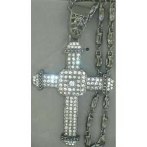 CZ BLACK GUN METAL CROSS CHARM+BLACK GUN METAL FANCY CHAIN