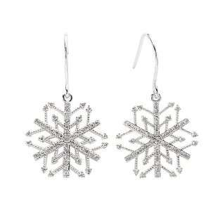 White Gold 3/8 ct. Diamond Snow Flake Earrings Katarina Jewelry