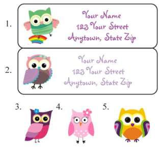 Personalized Colorful OWLS Address Labels Owls