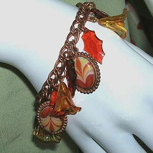 Vintage Fall Autumn Leaves Charm Bracelet OOAK Rust Gold Paprika